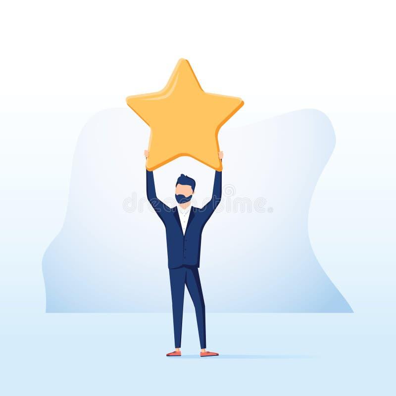 Geschäftsmanngriff ein großer Goldstern Sieg, veranschlagend Vektor, Illustration, flach Positives Sternfeedback Sieg oder Bewert lizenzfreie abbildung