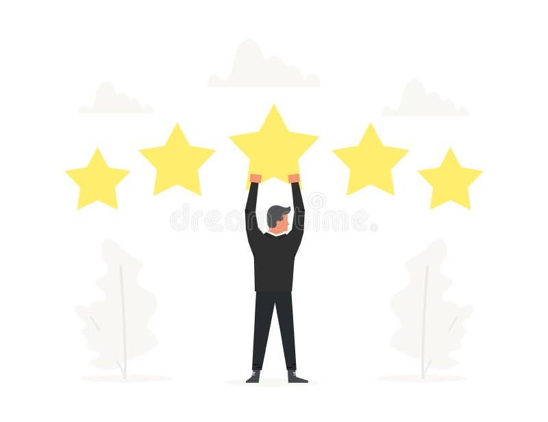 Geschäftsmanngriff großer Stern obenliegend Positive Bewertung, Qualitätsarbeit, Feedback Geschäftsillustration für Darstellungen stock abbildung