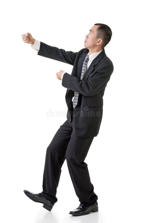 Geschäftsmanngriffseil stockfoto