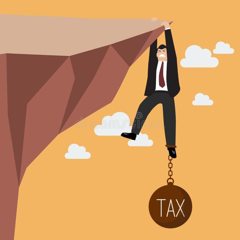 Geschäftsmanngroße mühe gebung, zum auf der Klippe mit Steuerlast zu halten lizenzfreie abbildung