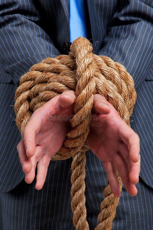 Geschäftsmannhände gebunden stockbild