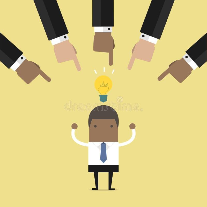 Geschäftsmannhände, welche die beste Geschäftsidee wählen stock abbildung