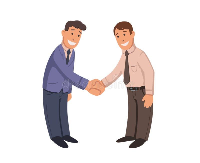 Geschäftsmannhändedruck Zwei lächelnde Männer, die Hände rütteln Händedruck, Geschäftskonzept Buntes flaches Vektor ilustration L lizenzfreie abbildung