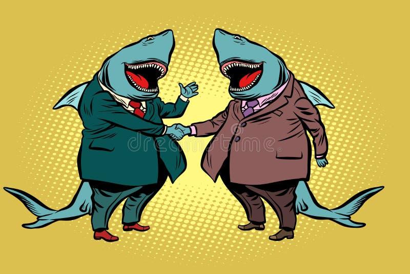 Geschäftsmannhaifischpersonengesellschaft vektor abbildung