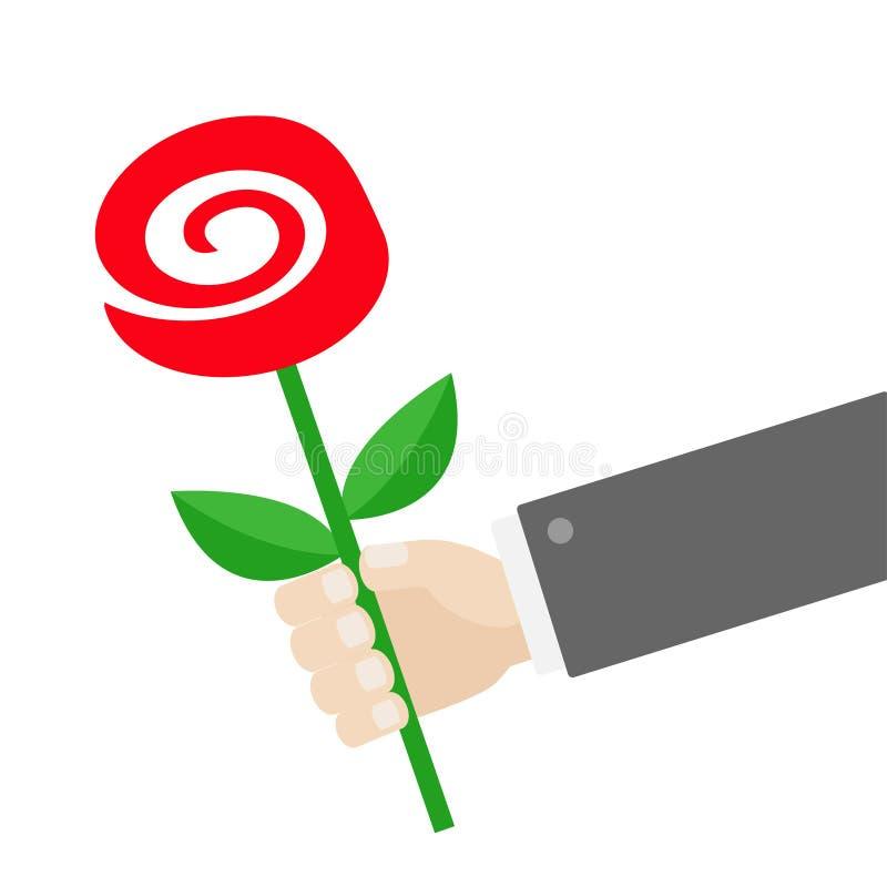 Geschäftsmannhand, die Rotrosenblume hält Geben des Geschenkkonzeptes Nette Zeichentrickfilm-Figur Schwarze Klage glückliches neu stock abbildung