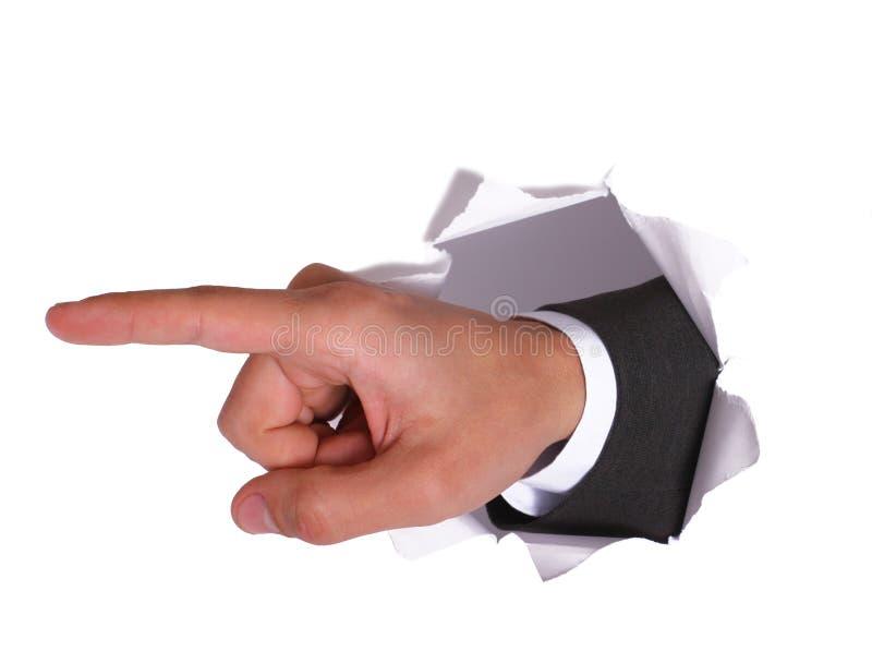 Geschäftsmannhand im Weiß lizenzfreie stockfotografie