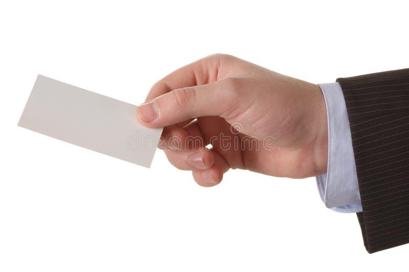 Geschäftsmannhand mit einer leeren Visitenkarte lizenzfreies stockbild