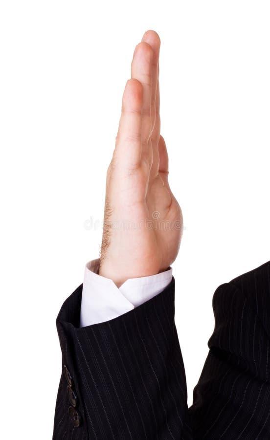 Geschäftsmannhand oben lizenzfreie stockfotografie