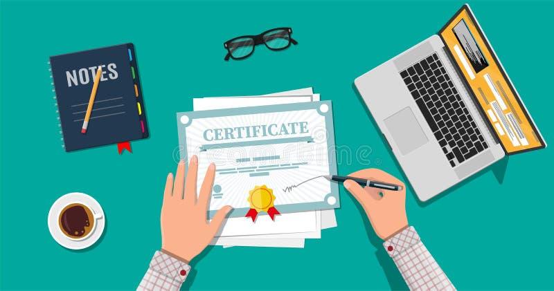 Geschäftsmannhand unterzeichnet Zertifikat stock abbildung