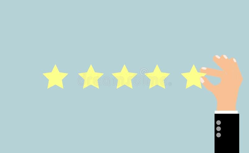 Geschäftsmannhand, welche die Bewertung mit fünf Sternen, Feedbackkonzept, VECT gibt vektor abbildung