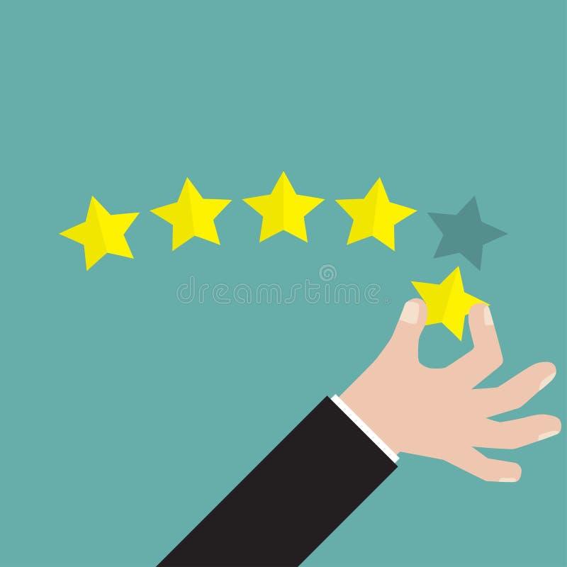 Geschäftsmannhand, welche die Bewertung mit fünf Sternen, Feedbackkonzept, VEKTOR, EPS10 gibt vektor abbildung