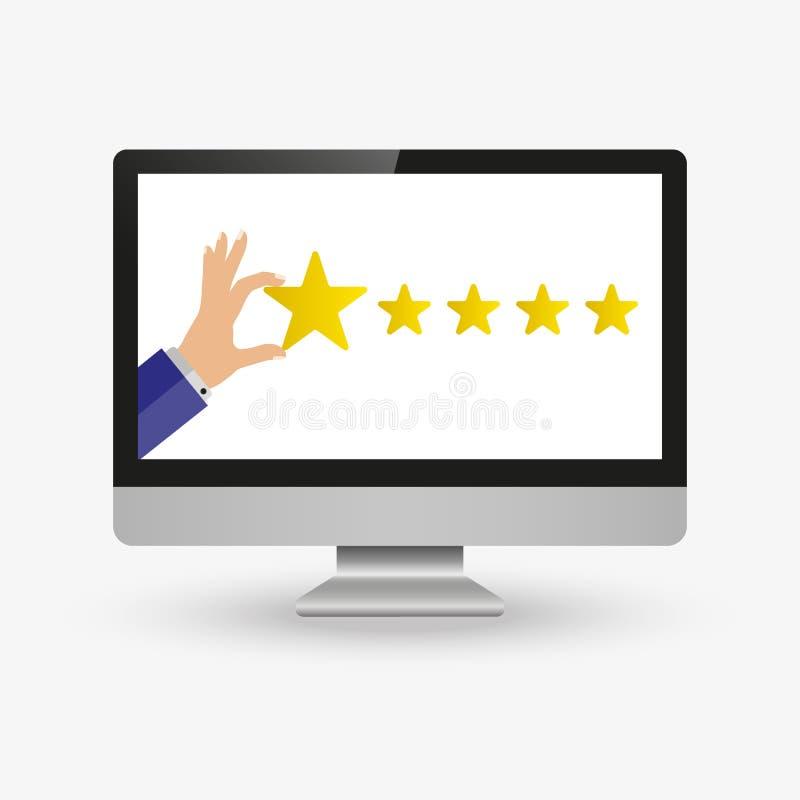 Geschäftsmannhand, welche die Bewertung mit fünf Sternen, flache Art der Feedbackkonzeptvektor-Illustration gibt lizenzfreie abbildung