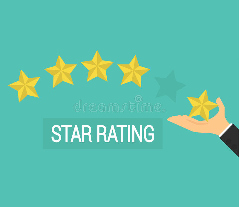 Geschäftsmannhand, welche die Bewertung mit fünf Sternen, flache Ikone gibt lizenzfreie abbildung