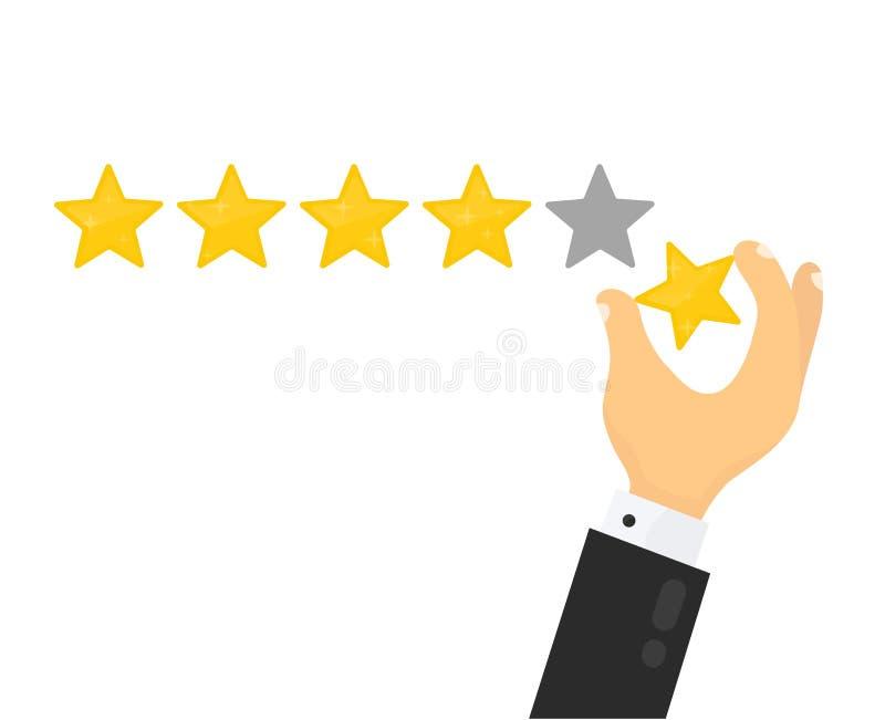 Geschäftsmannhand, welche die Bewertung mit fünf Sternen gibt lizenzfreie abbildung