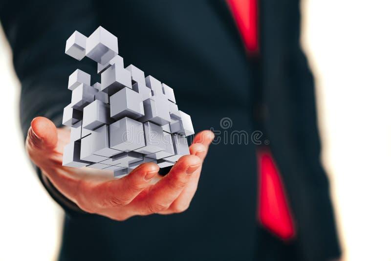 Geschäftsmannhandabschluß oben - denkend außerhalb des Kastenkonzeptes stockbilder