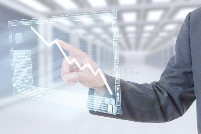 Geschäftsmannhanddiagramm lizenzfreie stockbilder