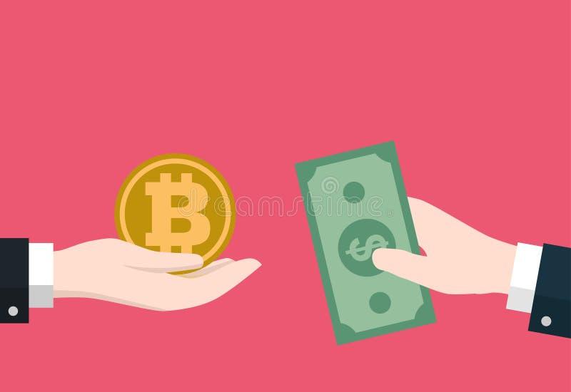 Geschäftsmannhandgriff Bitcoin und Dollar Ikone für für exchang, flache Art Vektor-Illustration vektor abbildung