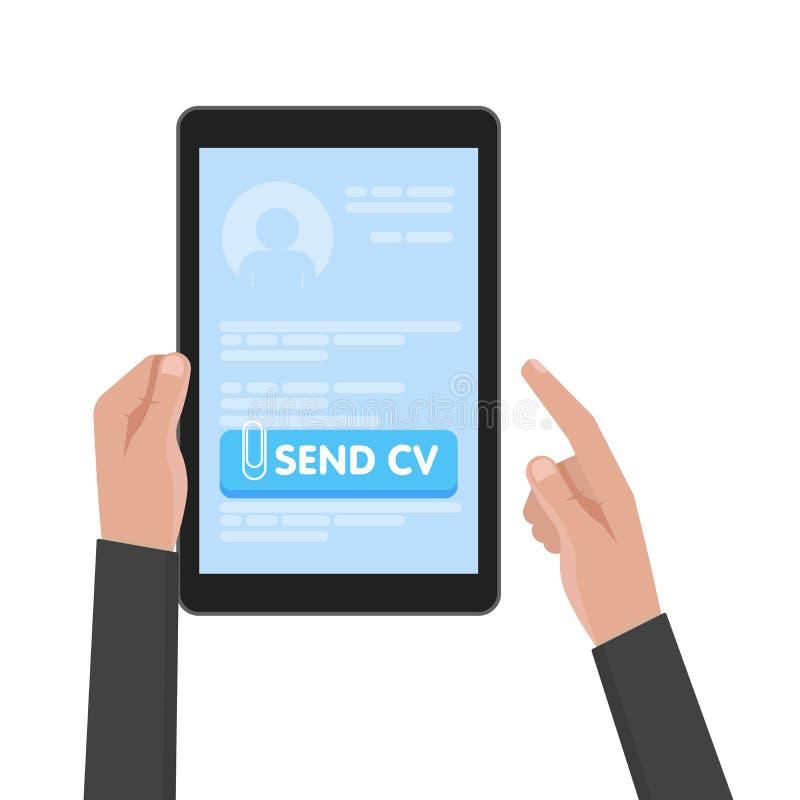 Geschäftsmannhandgrifftablet-computer mit Zusammenfassungsschablone Senden Sie Lebenslauf-Knöpfe Arbeits- und Jobsuchekonzeptvekt stock abbildung