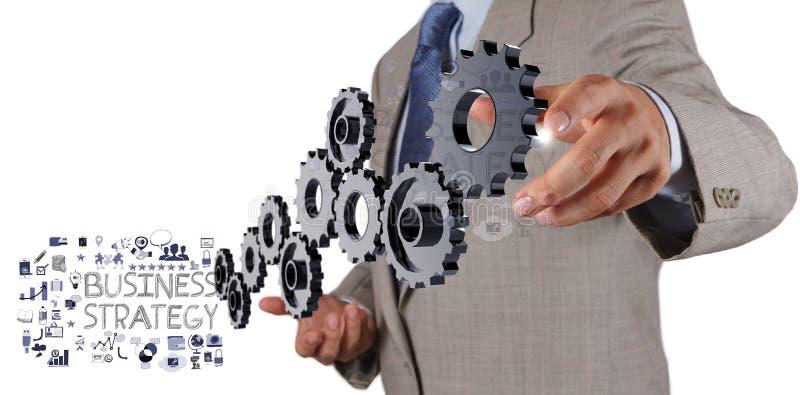 Geschäftsmannhandshow-Gangzähne stockbilder