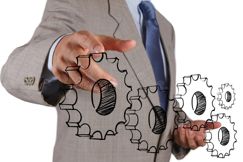 Geschäftsmannhandshowgang zum Erfolg lizenzfreies stockfoto