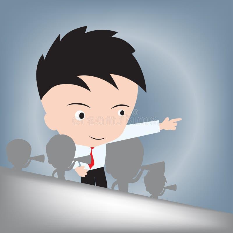 Geschäftsmannhandstellung und zeigen zweckmäßig auf Richtung, Führerkonzept, Vektorillustration im flachen Designhintergrund lizenzfreie abbildung