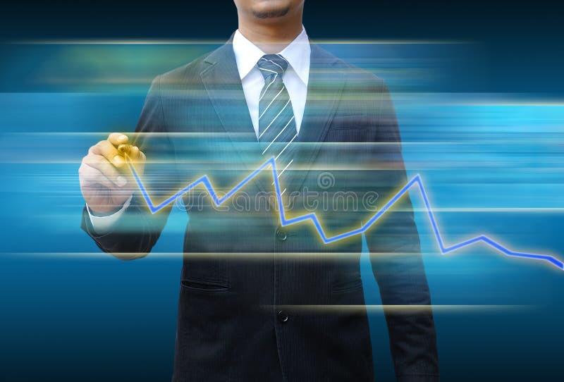 Geschäftsmannhandzeichnungs-Geschäftsdiagramm stockfotografie