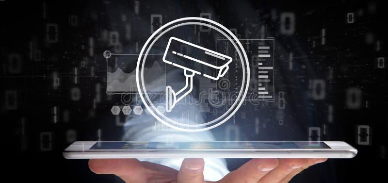 Geschäftsmannholding Überwachungskamera-Systemikone und Statistikdaten - Wiedergabe 3d stockbild