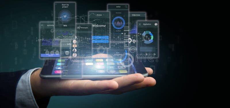 Geschäftsmannholding Benutzerschnittstellenschirme mit Ikonen-, Notfall- und Daten3d Wiedergabe stockfotografie