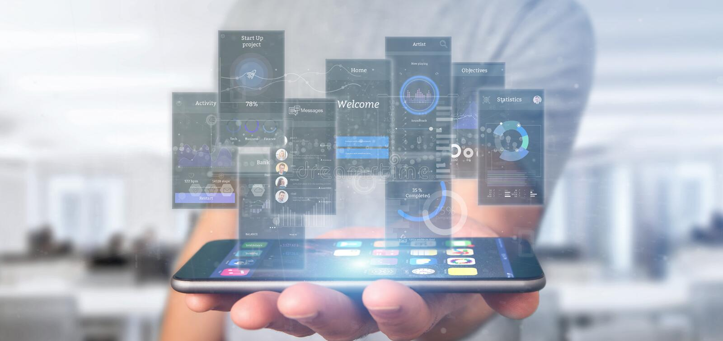 Geschäftsmannholding Benutzerschnittstellenschirme mit Ikonen-, Notfall- und Daten3d Wiedergabe stockfoto