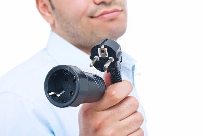 Geschäftsmannholding-Galvanosteckfassungen lizenzfreies stockfoto