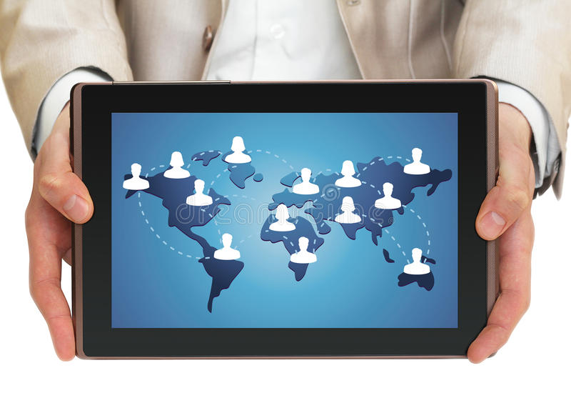 Geschäftsmannholding-Tablette-PC stockbild
