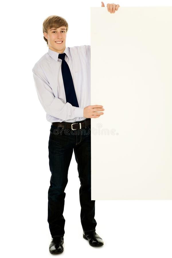 Geschäftsmannholdingfahne fügen hinzu stockbild