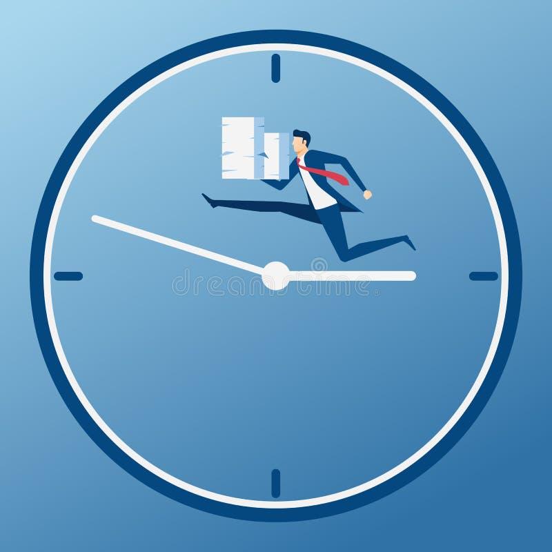 Geschäftsmannholdingstapel Papier laufend auf Geschäftszeit Zeitdruck, Druck, überbelastete und Fristenkonzept stock abbildung