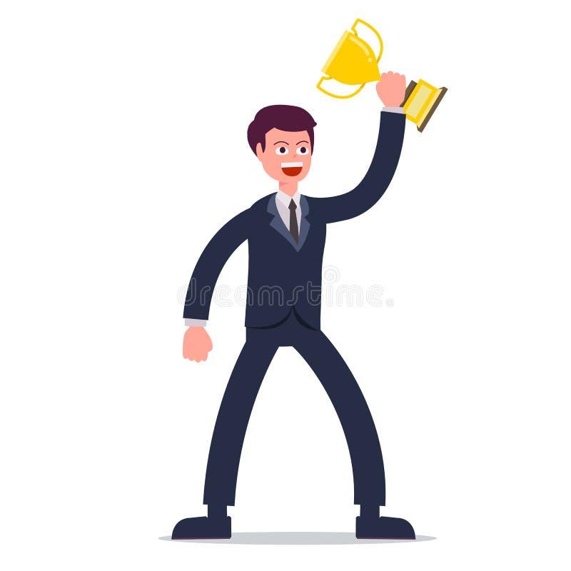 Geschäftsmannholdingtrophäe mit lokalisiertem weißem Hintergrund Zeichentrickfilm-Figur-Geschäftsmannentwurf und glückliche Funkt stock abbildung