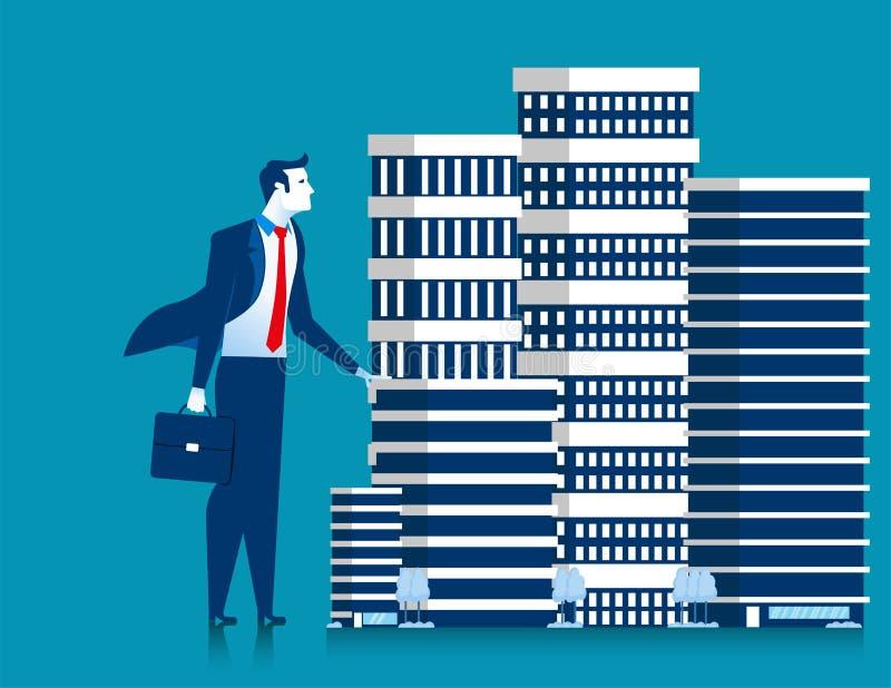 Geschäftsmanninhaber der Wolkenkratzergebäudeeigentums-Stellung stock abbildung