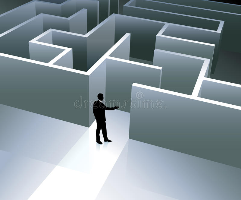 Geschäftsmanninternet-Hintergrund mit Labyrinth stock abbildung