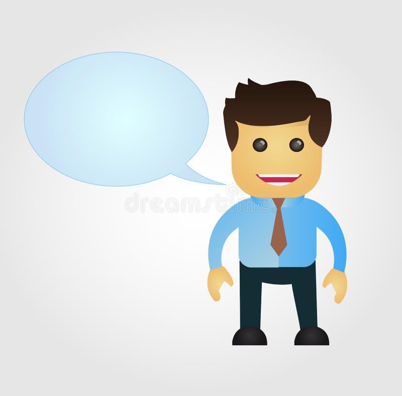 Geschäftsmannkarikatur mit Spracheballon lizenzfreie abbildung