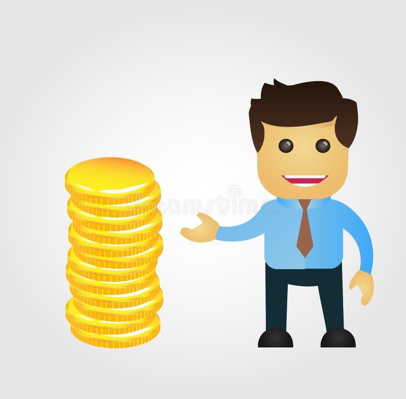 Geschäftsmannkarikatur mit Stapel Gold stock abbildung