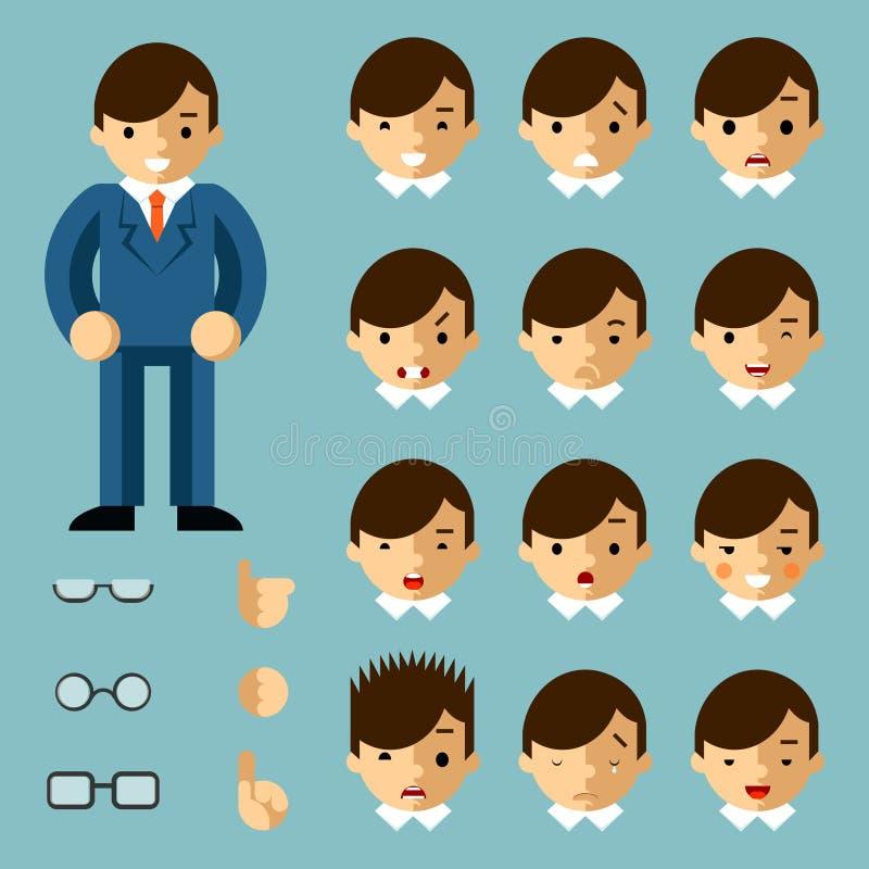 Geschäftsmannkarikaturgefühle vektor abbildung