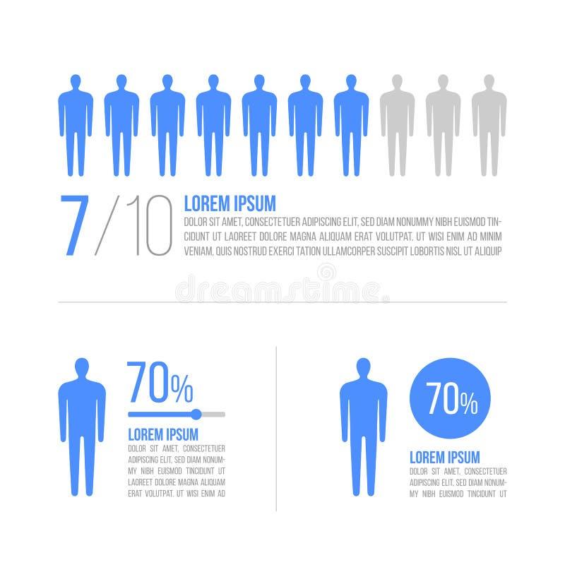 Geschäftsmannkonzept mit Prozentsatz in Vektor infographics Arbeitsfluß, Diagramm für Jahresbericht, Webdesign Mensch und Marketi lizenzfreie abbildung