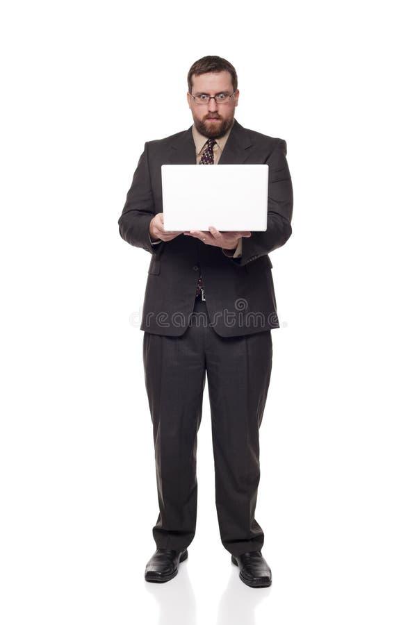 Geschäftsmannlaptop musterte weit Ausdruck stockfotos