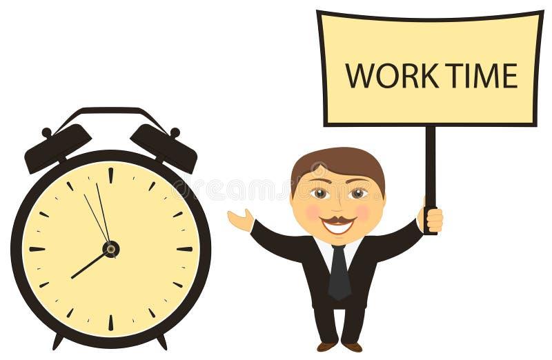 Geschäftsmannleiteranrufe für Arbeit lizenzfreie abbildung