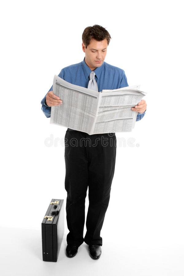 Geschäftsmannlesezeitung stockbilder