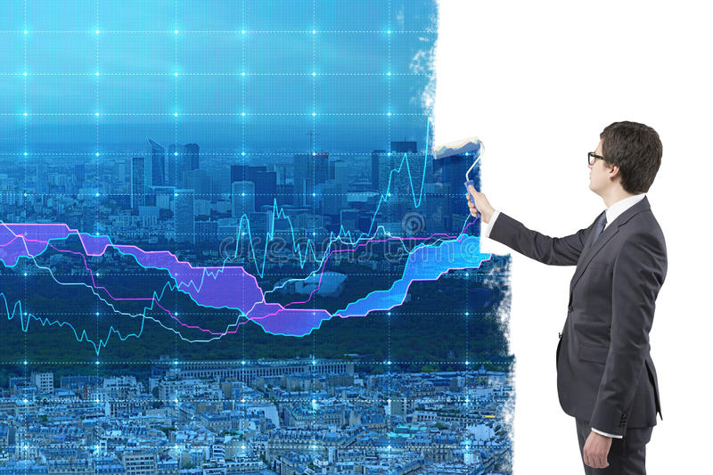 Geschäftsmannmalereidiagramme stockfotos