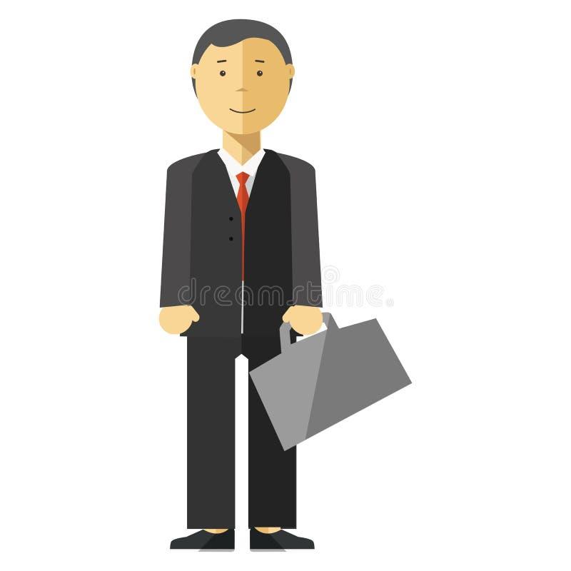 Geschäftsmannmanager mit Koffer im Büro vektor abbildung