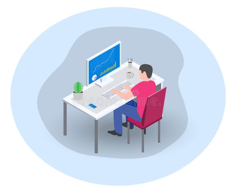 Geschäftsmannmanagermarketingspezialist, der am Computer im Büro arbeitet vektor abbildung