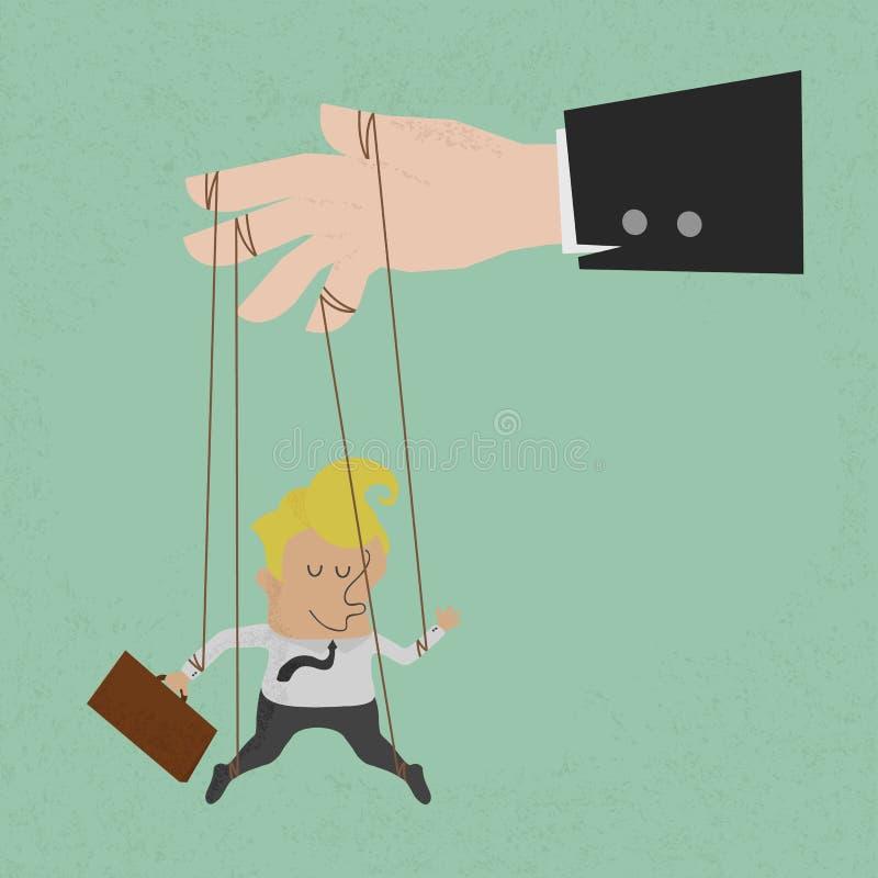 Geschäftsmannmarionette auf den Seilen gesteuert stock abbildung