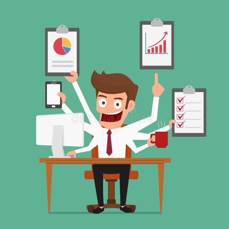 Geschäftsmannmultitasking arbeitet mit mehr Armen Management und Multitasking stock abbildung