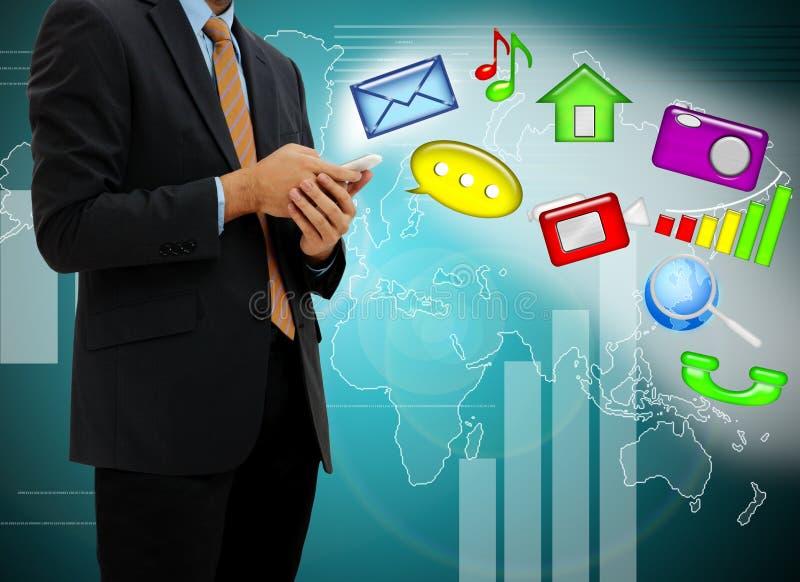 Geschäftsmannnoten-Handy lizenzfreie stockfotos