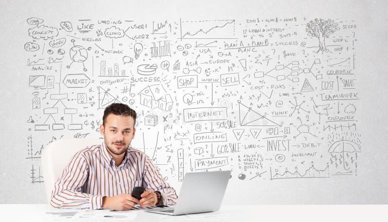 Geschäftsmannplanung und Berechnung mit verschiedenen Geschäftsideen stockbilder